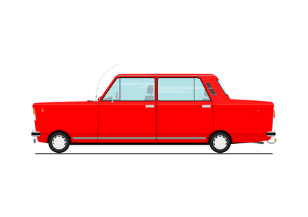 Illustration pour Cartoon car  Side view. Flat Vector illustration isolated on white background. - image libre de droit