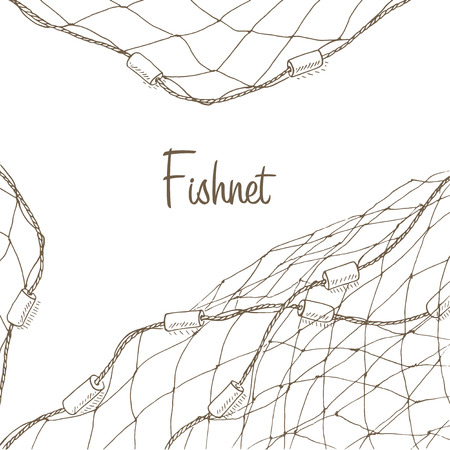 Illustration pour Fishing net background. Fish net flyer. Fishnet template. Fishing net hand drawn vector illustrations. Fish net card. Fishery frame with net. Net for fishing frame - image libre de droit
