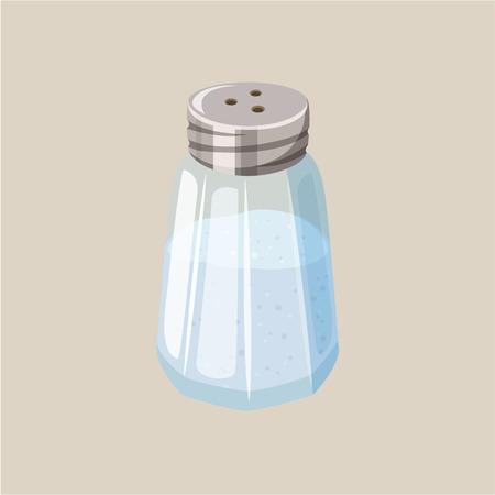 Ilustración de Salt shaker. Glass salt cellar. Baking and cooking ingredient. Cartoon vector illustration of salt. Food seasoning. Kitchen utensils salt shaker - Imagen libre de derechos
