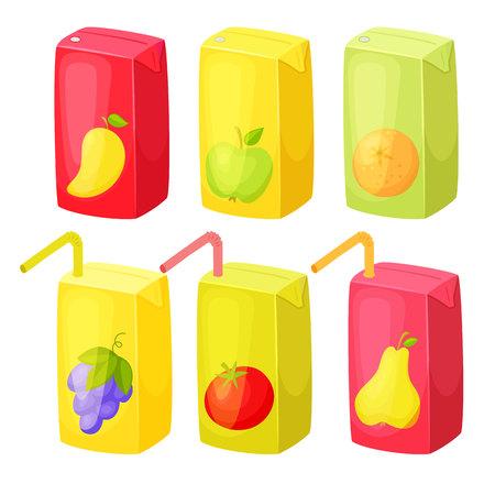 Illustration pour Juice package set. Juice box with straw. - image libre de droit