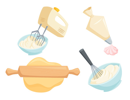 Illustration pour Baking set. Mixer or whisk whipped cream, roll out with rolling pin, decorate cakes with cream from pastry bag. Bakery process illustration. Kitchenware, cooking utensil isolated on white - image libre de droit