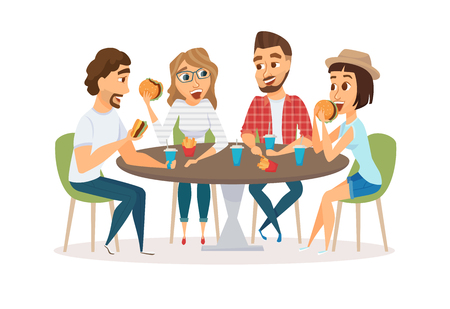Illustration pour Friends eating fast food - image libre de droit