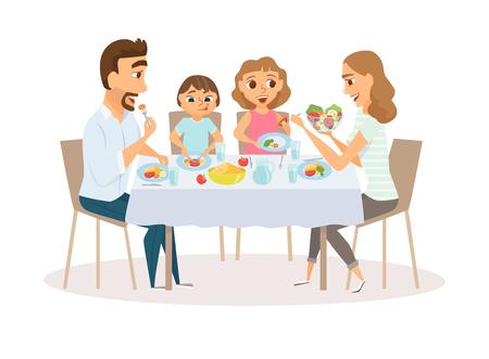 Illustration pour Family eating meal - image libre de droit