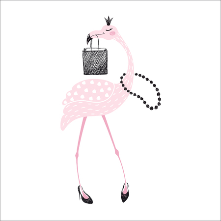 Illustration pour Flamingo cute print - image libre de droit