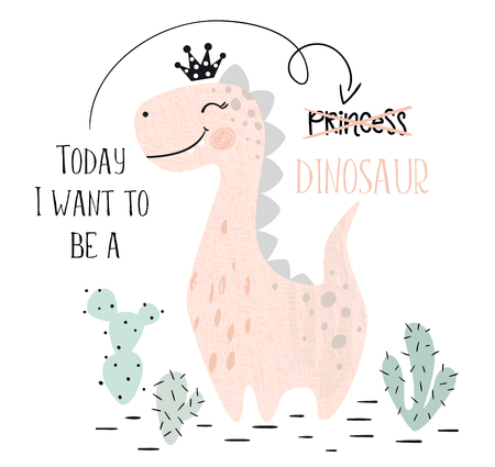Ilustración de Dinosaur baby girl cute print. Sweet dino princess with crown. Cool brachiosaurus illustration for nursery t-shirt, kids apparel, invitation, simple scandinavian child design. Text slogan. - Imagen libre de derechos