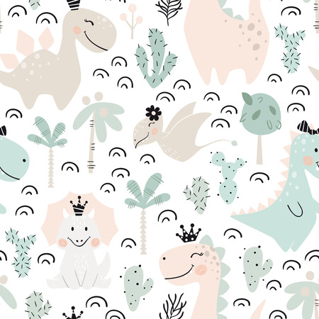 Ilustración de Dinosaur baby girl seamless pattern. Sweet dino princess with crown. Scandinavian cute print. Cool illustration for nursery t-shirt, kids apparel, invitation cover, simple child background design - Imagen libre de derechos