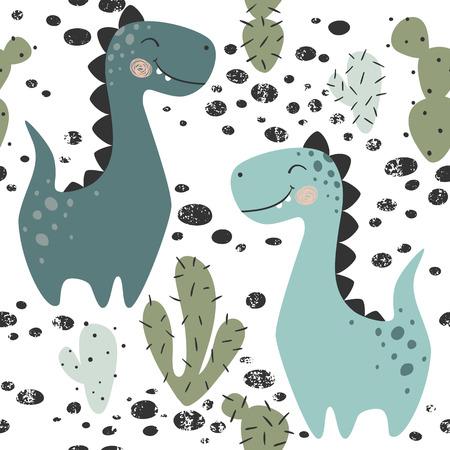 Ilustración de Dinosaur baby boy seamless pattern. Sweet dino with cactus. Scandinavian cute print. Cool brachiosaurus, illustration for nursery t-shirt, kids apparel, invitation cover, simple child background design - Imagen libre de derechos