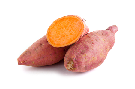 Photo for raw sweet potato isolated over white background - Royalty Free Image