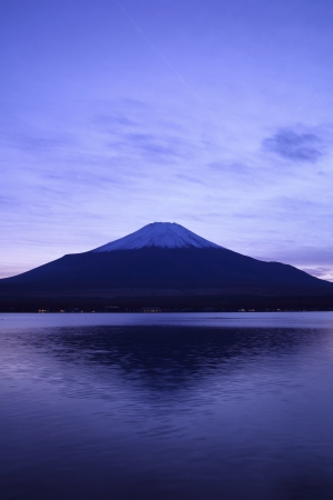 Mt  Fuji and Lake Yamanaka at twilight, Yamanashi, Japan