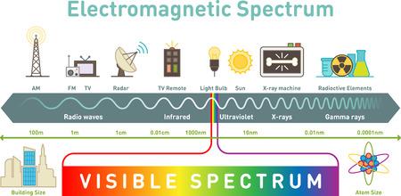 Ilustración de Electromagnetic spectrum infographic diagram, vector illustration. - Imagen libre de derechos