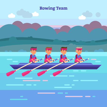 Ilustración de Rowing team vector illustration in kayak or canoe. Outdoor activity with teamwork water sport athletes in river, sea or lake. Nature scenery background. Unity, challenge and determination concept. - Imagen libre de derechos