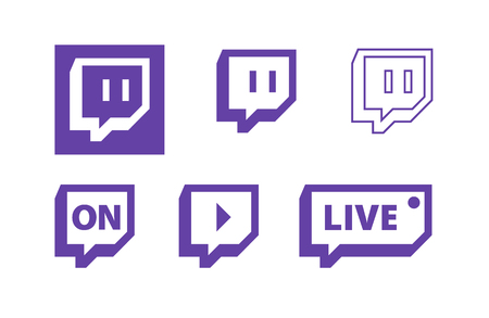 Illustration pour Twitch live gaming video vector logo icons. - image libre de droit