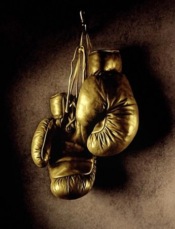 Photo of boxing gloves hanging on the wall