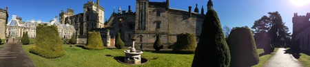 Foto de April 03, 2018 – Alton Towers, England, United Kingdom. Alton Towers is one of the UK's largest theme parks. Here you can see the well kept Alton Towers Castle grounds, one of the main features of the park. - Imagen libre de derechos