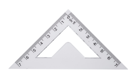 Foto per Plastic ruler, protractor triangle isolated on white background - Immagine Royalty Free