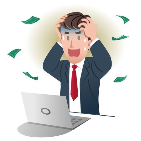 Illustration for Shocking businessman holding head over white background - Royalty Free Image
