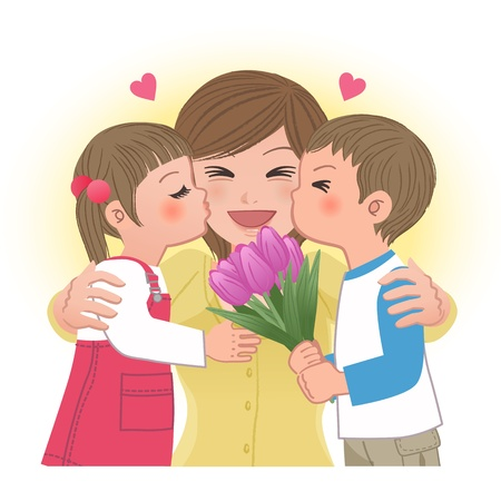 Boy and girl giving mom kisses on mothers day   Tulip bouquet