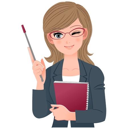 Ilustración de Female lecturer winking with pointer stick.File contains Gradients, Blending tool. - Imagen libre de derechos