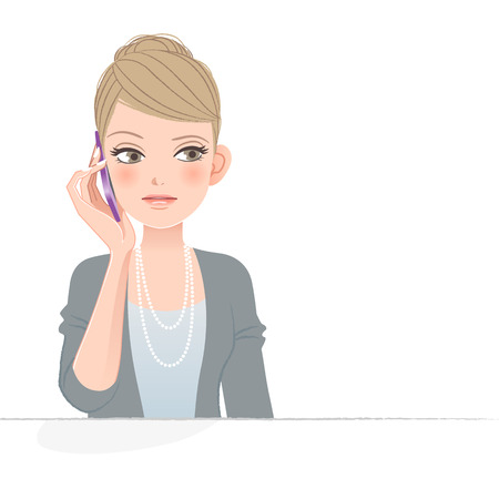 Illustration pour Pretty woman frowning while talking on the phone.   - image libre de droit