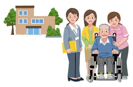 Ilustración de Smiling senior man with caregivers, his daughter, and nursing home in the background. - Imagen libre de derechos