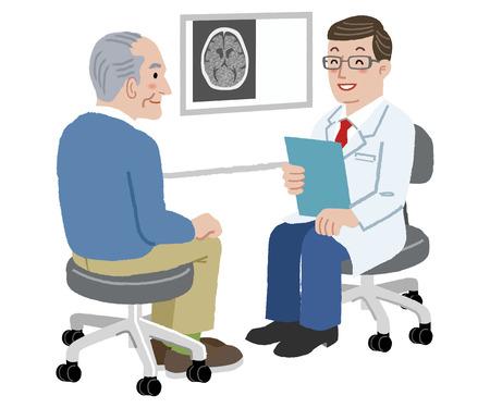 Illustration pour Patient and Doctor - Doctor talking to his senior patient after CT scan - image libre de droit