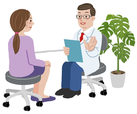 Illustration pour Patient and Doctor - Doctor explaing about exam to his young female patient at his room. - image libre de droit