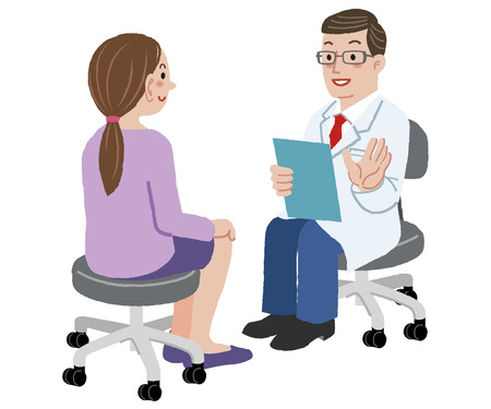 Illustration pour Patient and Doctor - Doctor talking to woman about her health after exam - image libre de droit