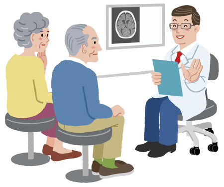 Illustration pour Doctor talking with his patient and the family, after CT scan exam - image libre de droit