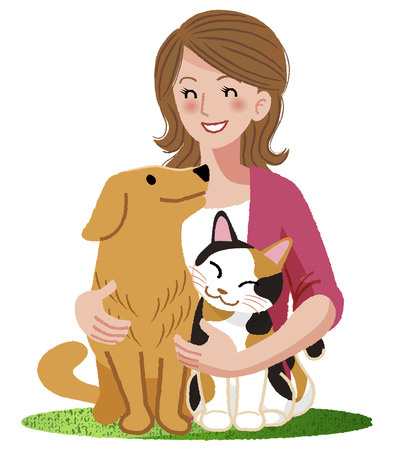 Illustration for A woman embracing her dog and a cat with smiling eyes at them. - Royalty Free Image