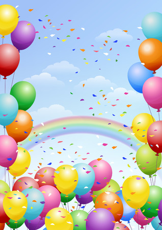 Illustration pour Festival background with colorful balloons, rainbows and scattered confetti. Celebration. - image libre de droit
