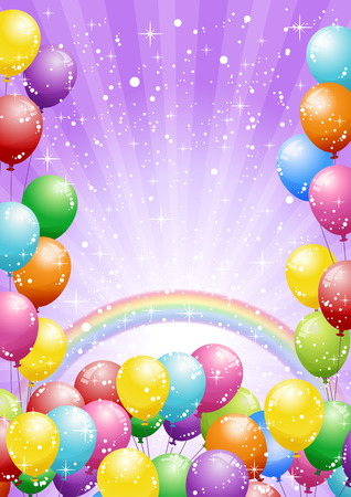 Illustration pour Festival background with colorful balloons and shining glitter. Celebration. - image libre de droit