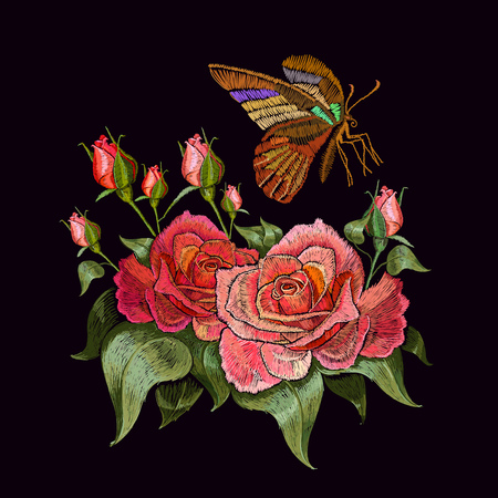 Illustration for Embroidery butterfly and roses. Beautiful butterfly and roses classical embroidery on black background. Template clothes, textiles, t-shirt design - Royalty Free Image