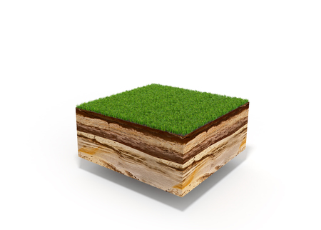 Foto de 3d illustration of cross section of ground with grass isolated on white - Imagen libre de derechos