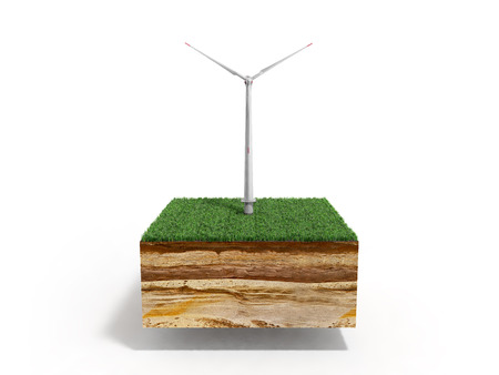 Foto de Concept of alternative energy 3d illustration of cross section of ground with grass isolated on white - Imagen libre de derechos