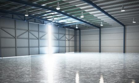 Photo pour empty Hangar delivery warehouse 3d render image - image libre de droit