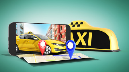 Photo pour Ordering a taxi cab online internet service transportation concept navigation pin pointer with checker pattern and yellow taxi and phone 3d render on green - image libre de droit