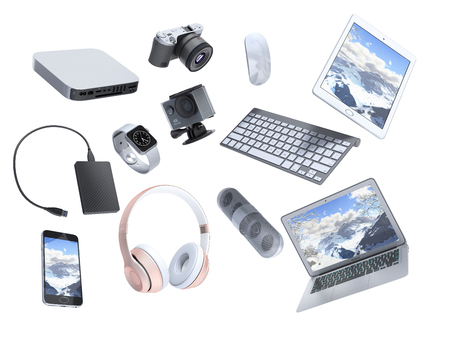Photo for collection of consumer electronics flying in the air 3D render on white background - Royalty Free Image