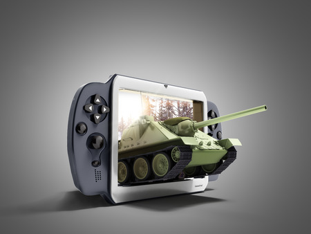 Photo pour concept of tank games The tank leaves the screen of the gamepad 3d render on grey - image libre de droit