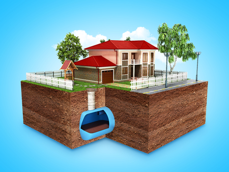 Photo pour concept of Sewerage in a private house 3d render on blue  - image libre de droit