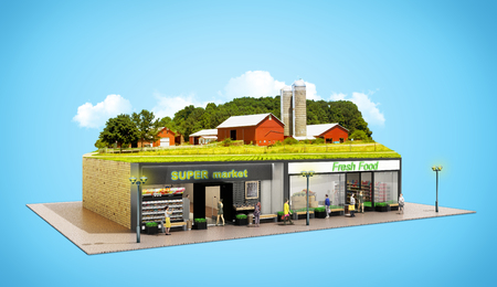 Photo for the concept of ecologically pure food showcases grocery supermarkets with a farm on the roof 3d render on blue - Royalty Free Image