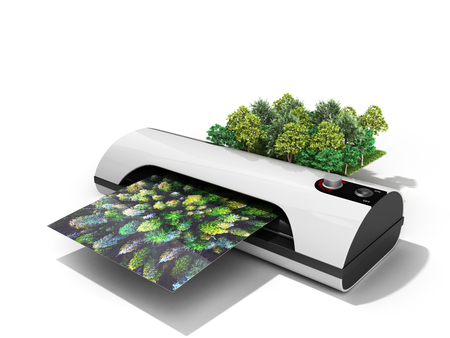Photo for Modern high resolution wide format printing concept The real forest is transformed into an image passing through the printer 3d render on white - Royalty Free Image