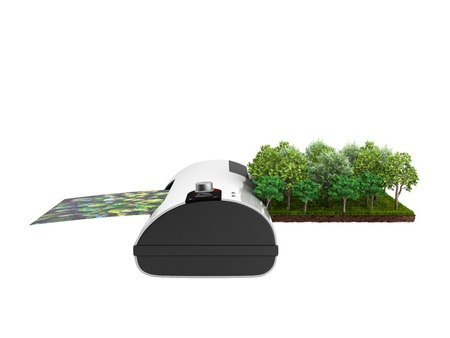 Photo for Modern high resolution wide format printing concept The real forest is transformed into an image passing through the printer 3d render on white no shadow - Royalty Free Image