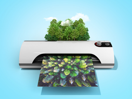Photo for Modern high resolution wide format printing concept The real forest is transformed into an image passing through the printer 3d render on blue - Royalty Free Image