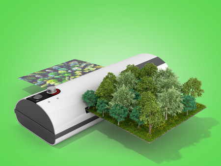 Photo for Modern high resolution wide format printing concept The real forest is transformed into an image passing through the printer 3d render on green - Royalty Free Image