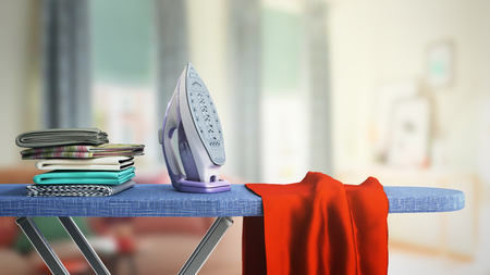 Foto de modern iron on the ironing board near the ironed things in the stack 3d render in room - Imagen libre de derechos