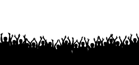 Illustrazione per Applause crowd silhouette vector. People applauding. Cheerful clapping party. Isolated on white background - Immagini Royalty Free