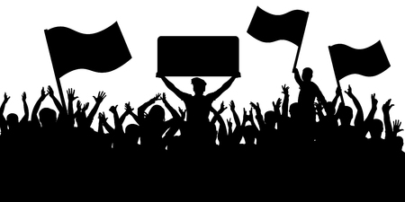 Illustration pour Crowd of people with flags silhouette background. Sports fans. - image libre de droit