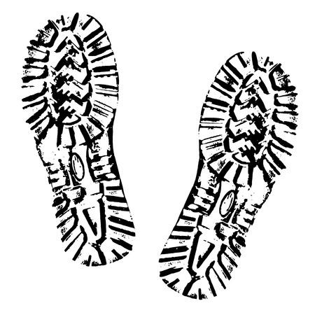 Ilustración de Human footprints shoe silhouette. Boot Imprint. Isolated on white background - Imagen libre de derechos