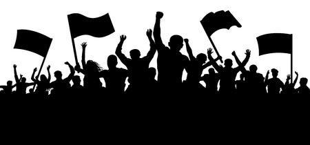 Illustrazione per Crowd of people with flags, banners. Sports, mob, fans. Demonstration, manifestation, protest, strike, revolution. Silhouette background vector - Immagini Royalty Free