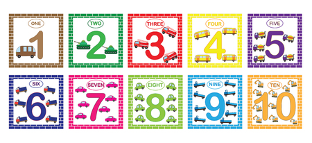 Illustration for Learning numbers, mathematics with cars (transport). Flash cards with numbers from 1 to 10, set. Game for children Vector illustration. - Royalty Free Image